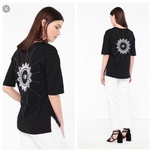 Sandro Beaded Eye Sunflower Graphic Tee Shirt